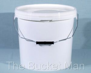 20 L Ltr Litre White Plastic Bucket Container with Lid and Metal Handle FoodSafe