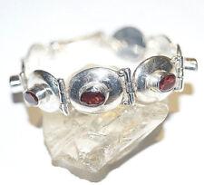 Design Handarbeit Armband 19 cm Massiv Silber Granat Rot Oval Schlicht Modern