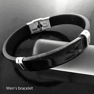 Men's ID Bracelet Black Stainless Steel identification Cuff Bangle Wristband
