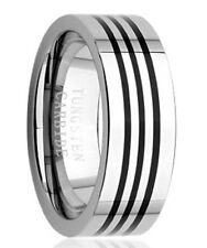 8mm TUNGSTEN CARBIDE comfort fit ring size 9 Inlaid Black Enamel