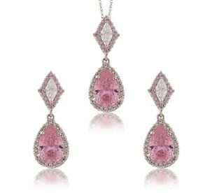 7.50Ct Created Diamond Pear Light Pink Set Of Pendant & Earrings 14K White Gold