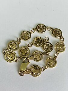 FINE 9CT YELLOW GOLD SOLID CLOVER LEAF LADIES BRACELET - 7.5 INCHES