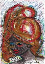 Lia de Fontenelle acrylique sur papier signée en bas à droite 29,5 x 21 cm