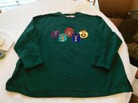 Women's Basic Editions Holiday UGLY Christmas Sweat Shirt 2X Dark Green Pre-ownd