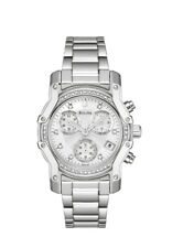 Bulova Women's 96R138 Quartz Diamond Accents Chronograph Silver-Tone 32mm Watch