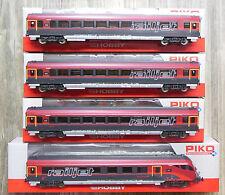 PIKO H0 57642, 57643, 57644, 57672 - 4x Schnellzugwagen railjet ÖBB - NEU in OVP
