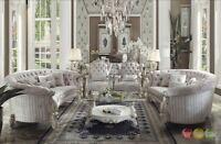 Versailles Traditional Antique White 6pc Oval Living Room Set In Ivory Velvet