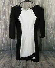 Bebe Black and White 3/4 Sleeve Bodycon Dress Extra Small XS Women