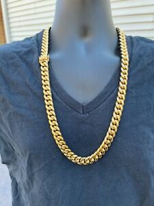 "Mens Real Miami Cuban Link Chain 18k Gold Over Stainless Steel 30"" WHOLESALE"