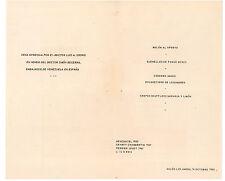 HOTEL TAMANACO INTERCONTINENTAL MENU' EMBASSADOR VENEZUELA ESPANA 1955 CARACAS