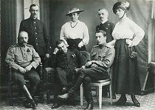 IMPERIAL RUSSIA, WWI ERA  PORTRAIT OF 7 PEOPLE, MEN/WOMEN/UNIFORM VINTAGE PHOTO