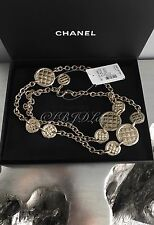 "NWT CHANEL $2000 Gold Coin CC Quilted Medallion Classic 45"" Necklace Belt 2015"