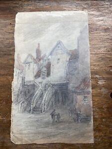 Antique Pencil & Water colour of White Horse Close, Edinburgh.