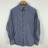 MJ Bale Mens Button Up Shirt Size 40 Medium Slim Blue Plaid Long Sleeve Collared