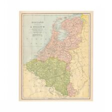 Vintage map of Holland and Belgium from 1902 disbound book