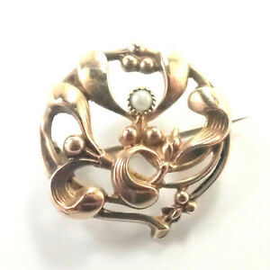 French Art Nouveau 18K Gold Filled Mistletoe Brooch/Pin - FIX