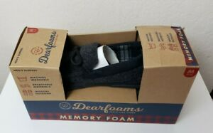 Dearfoams Men's Slippers Black Color Size 9-10M New In Box MSRP $38