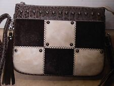 Bone Chocolate Brown Stud Cowhide Checked Crossbody Messenger Bag Purse Wristlet