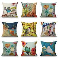 Birds Linen Sofa Cushion Cotton Case Paintings Oil Pillow Decor Car Cover Home