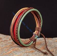 Unisex Tribal Multi-Layer Quality Leather Rope Hemp Braided Wrap Bracelet Cuff
