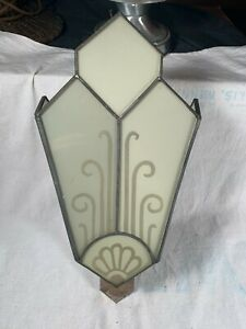 Vintage large Art Deco Cast Metal Wall Sconce Light Etched  Glass 15 inches tall