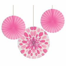 3 Candy Pink Polka Dot Party Round Paper Hanging Fan Decorations