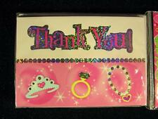 8 Princess Birthday Party Thank You Cards Pink Sparkly Tiara Ring Necklace Girly