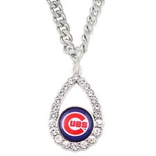 Chicago Cubs Tear Drop Chain Necklace Simulated Diamond Pendant Womens Jewelry