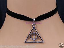 black velvet choker necklace deathly hallows pendant goth harry potter