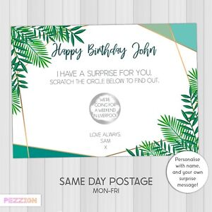 Personalised Scratch Reveal Card Surprise Holiday Trip Gift Voucher Birthday