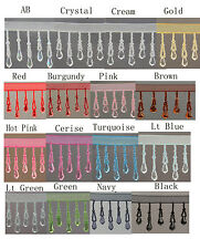 Organza Teardrop beaded trimming fringe 1/2Mtr (18 different Colour ) #1N