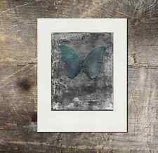 Blue Butterfly Modern Acrylic Art artwork mixed media Print MATTED to 11x14