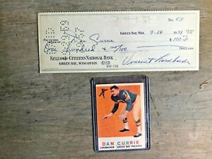 Vince Lombardi Signed Check #53Dated 9/24/1959 endorsed by All-PRO Dan Currie