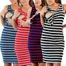 Women Maternity Sleeveless Nursing Stripe Sleeveless Sundress Pregnancy Dress 12