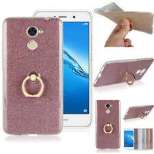Ring Buckle Holder Bracket Glitter Slim TPU Case Cover For Huawei Various Phone