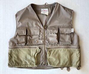 Vintage Orvis Fishing Vest Size S Khaki Small Talon Zippers 70s USA Tak L Pak