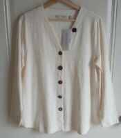 NWT Soft Surroundings Womens Button Front Detail Delia Top Shirt Size Medium