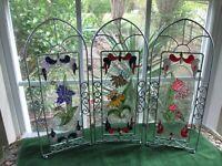 Stained Glass Art Hand Painted Trifold Free Standing Suncatcher Iris Tulip Daisy