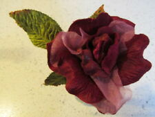 "Millinery Flower Rose Dark Red Velvet and Organza 4 1/2"" w/velvet leaves G91"