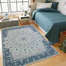 Dusty Blue Large Super Soft Distressed Printed Traditional Persian Carpet 4 Size
