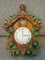 "Vtg Belvedere California Pottery cuckoo clock wall pocket ""Tick Tock"" 50's60's"