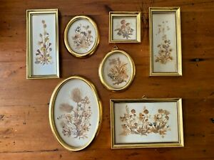 Lot of 7 Vintage Framed Dried Pressed Flowers in Oval Gold Frames Switzerland