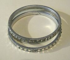 2x Bracelet great bangle style silver tone metal with white stones 2½ ins