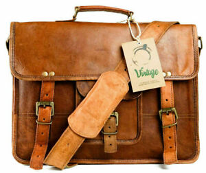 Goat Leather Bag Men's Genuine Vintage Messenger Bag Shoulder Laptop Briefcase
