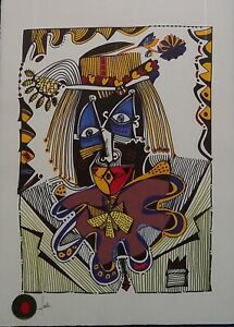 Jesus Fuertes  Payaso Jugador Lithograph Signed 30X22 Cubist European Art