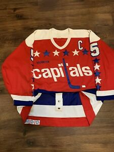 CCM Langway Washington Capitals Authentic Team Issued Hockey Jersey Red Away 54