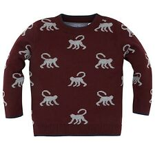 Monsoon Boys MARVIN MONKEY Intarsia Jumper - 5-6 Years