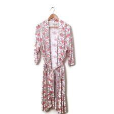 Peruvian Connection Robe XL Pink White Floral Print Belle Epoque Long Kimono
