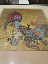 "Lebadang (1922) colored lithograph Oriental abstraction ""La Montagne Fleurie"""