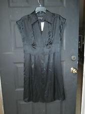 NWT NEW MACYS INC DRESS 100% SILK BLACK SATIN LINED SZ 10 MEDIUM BUTTON DOWN